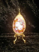 Hand Painted Russian Lacquered Wood Egg With Crucifix On Top And Detailed Floral