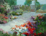 Laverne Siebuhr Garden Hand Signed Original Oil Painting Art On Stretched Canvas