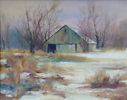 Charles D. Rogers Hand Signed Original Oil Painting Art On Canvas Snowy Barn