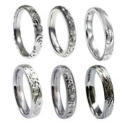 3mm Vintage Hand Engraved Sterling Silver Court Comfort Wedding Rings 925 Hm New