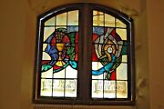 + Double Stained Glass Window In Wood Frames + Chalice And Grapes + 3 +