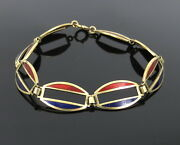 1950andrsquos Retro Blue And Red Enamel 14k Yellow Gold Curved Link Bracelet