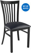 Set Of 20 X Elongated Vertical Back Metal Restaurant Chair Black Finish Vinyl