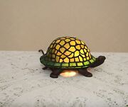 Stained Glass Handcrafted Turtle Night Light Table Desk Lamp. Cute