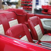 Ford Mustang Deluxe Pony Seat Trim Kit B/red And White 65 1964 1965 1966 Fastback