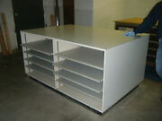 Rare White Formica Island Cabinet With Tabletop And Drawers