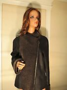 Nwt Womens Authentic Blue Duck Black Leather Shearling Coat Jacket L/large