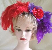 Red And Purple Headband Fascinator Red Hat Christmas Valentines Costume Holiday