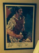 Thurman Munson Leroy Neiman Print Signed By 8 Former New York Yankees Players