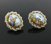 Antique Painted Porcelain And Natural Pearl 14k Yellow Gold Earrings