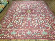 8and039 X 10and039 Vintage Indian Embroidery Hand Stitched Asmara Kashmir Rug Wool Nice