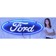Real Neon Sign In Steel Can Ford Oval Mustang Truck Garage Wall Lamp Light Olp