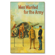 United States Us Army Men Wanted Wwi Poster Art Metal Sign Steel Not Tin 24x36