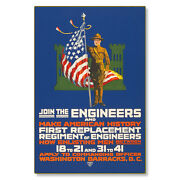 United States Us Army Join Engineers Wwi Poster Metal Sign Steel Not Tin 24x36