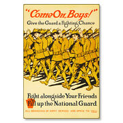 National Guard Come On Boys Wwi Poster Art Metal Sign Steel Not Tin 24x36