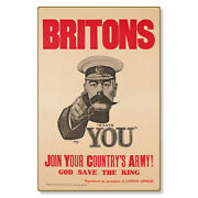 Britons Lord Kitchener Wants You Wwi Poster Art Metal Sign Steel Not Tin 24x36