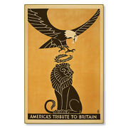 Americaand039s Tribute To Britain Wwi Poster Art Metal Sign Steel Not Tin 24x36