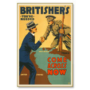 Britishers Come Across Now Wwi Poster Art Metal Sign Steel Not Tin 24x36