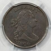 1804 C-5 Pcgs Au 50 Spiked Chin Draped Bust Half Cent Coin 1/2c