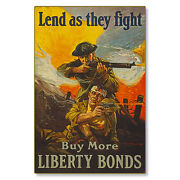 Us War Bonds Liberty Lend They Fight Wwi Poster Metal Sign Steel Not Tin 24x36