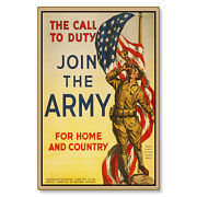United States Us Army Join Call Of Duty Wwi Art Metal Sign Steel Not Tin 24x36