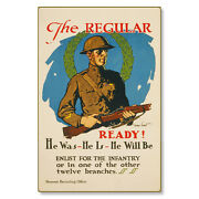 Us Army Enlist For The Infantry Wwi Poster Art Metal Sign Steel Not Tin 24x36