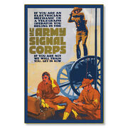 United States Us Army Signal Corps Wwi Poster Art Metal Sign Steel Not Tin 24x36