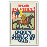 United States Us Army Pro Patria Wwi Poster Art Metal Sign Steel Not Tin 24x36