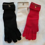 Nwt Authentic 100 Cashmere Gloves In Red Black Or White/cream One Size