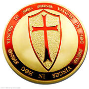 100 Exclusive Troy Oz Knights Templar Coin .999 24k Gold Layered Art Coin Lot