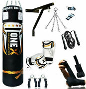 15 Piece Boxing Set 3/4/5ft Filled Heavy Punch Bag Gloves Chains Bracket Kick