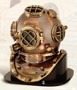 18 Polished Brass And Copper Mark V Dive Helmet Deluxe