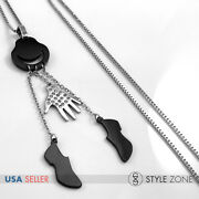 Girl Stainless Steel Michael Jackson Mj Glove Hat Shoes Pendant Box Necklace 14m