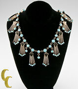 10k Yellow Gold Turquoise Necklace Chain Link Style W/ Dangling Accents 17