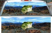 Large Mouth Bass Fish Fishing Grass Rear Window View Thru Graphic Decal Wrap