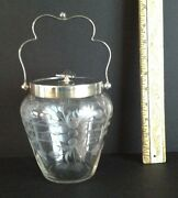 Antique English Cut And Faceted Glass Biscuit Barrel/cookie Jar.great Wedding Gift