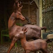 Cast Iron Frolicking Stag And Calf Statue - Ornament Home Garden Animal Feature