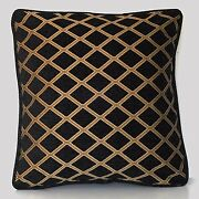 Large Black Gold Geometric Chenille Embroidered Piping Throw Pillow For Sofa Usa