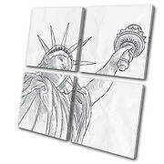 New York Nyc Liberty Sketch Illustration Multi Canvas Wall Art Picture Print