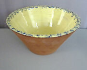 HUBERHAUS POTTERY__RARE Yellow/Blue Glaze Bowl__Signed/Dated '94__ExC_SHIPS FREE