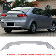 Fits 08-17 Mitsubishi Lancer Oe Trunk Spoiler Painted Apex Silver A31 - Abs