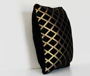 Black Gold Geometric Chenille Throw Pillows For Sofa Chair Or Couch Made In Usa