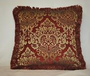 Embroidered Red And Gold Chenille Fringe Throw Pillows For Sofa Chair Or Couch