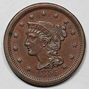 1855 N-4a Reverse Uncracked Braided Hair Large Cent Coin 1c