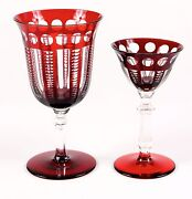 Vintage Red Cut-to-clear Crystal Service For 10 Water And Wine Ruby Red