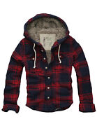 128 Mens Cali Holi Muscle Fit Faux Fur Flannel Check Hoodie Jacket Red Navy