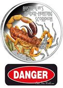 Tuvalu 2014 1 Deadly And Dangerous Spider-hunting Scorpion 1 Oz Silver Coin