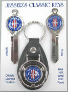 Blue Lincoln Continental White Gold Deluxe Classic Key Set 1982 1983 1984