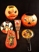 Vtg Lot 6 Halloween Tin Noisemakers Paper Mache And Jack Oand039 Lantern Witches Cat