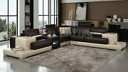 Modern Large Leather Sofa Corner Suite New Chocolate And Black Beige